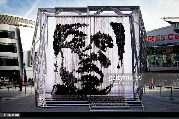 A general view of atmosphere as Michael Kalish hosts the unveiling of his sculpture ReALIze at the Nokia Plaza LA LIVE on March 25 2011 in Los...