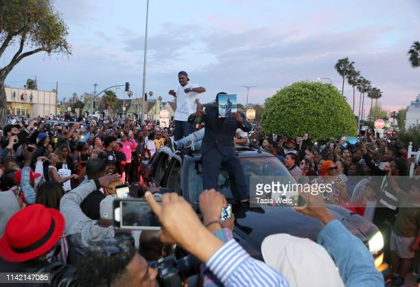 A general view of atmosphere as Nipsey Hussle's Funeral Procession arrives at Angelus Funeral Home on April 11 2019 in Los Angeles California