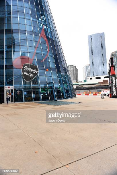 A general view of atmosphere as Recording Artist Kenny Chesney and SiriusXM Host Storme Warren throw pumpkins off the balcony at SiriusXM Studios on...