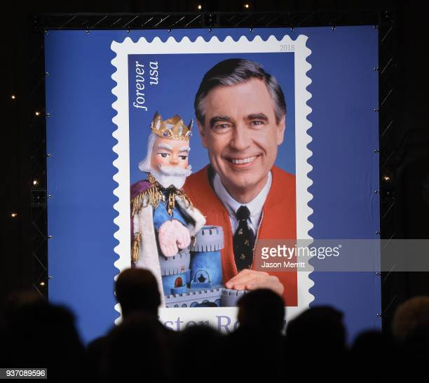 A general view of atmosphere as the US Postal Service Dedicates the Mister Rogers Forever Stamp at WQED's Fred Rogers Studio on March 23 2018 in...