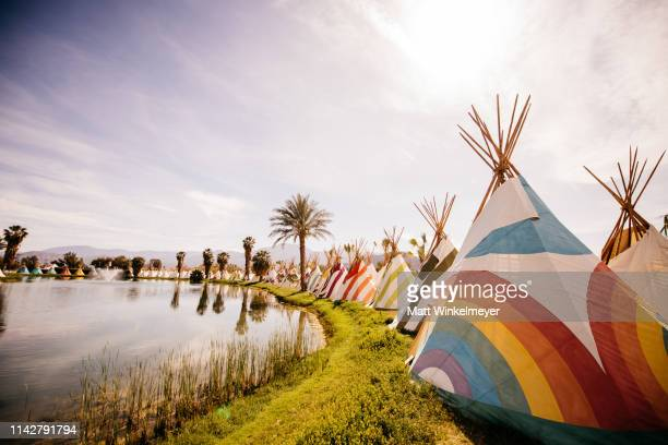 A general view of atmosphere at Lake Eldorado during the 2019 Coachella Valley Music and Arts Festival Weekend 1 Day 3 on April 14 2019 in Indio...