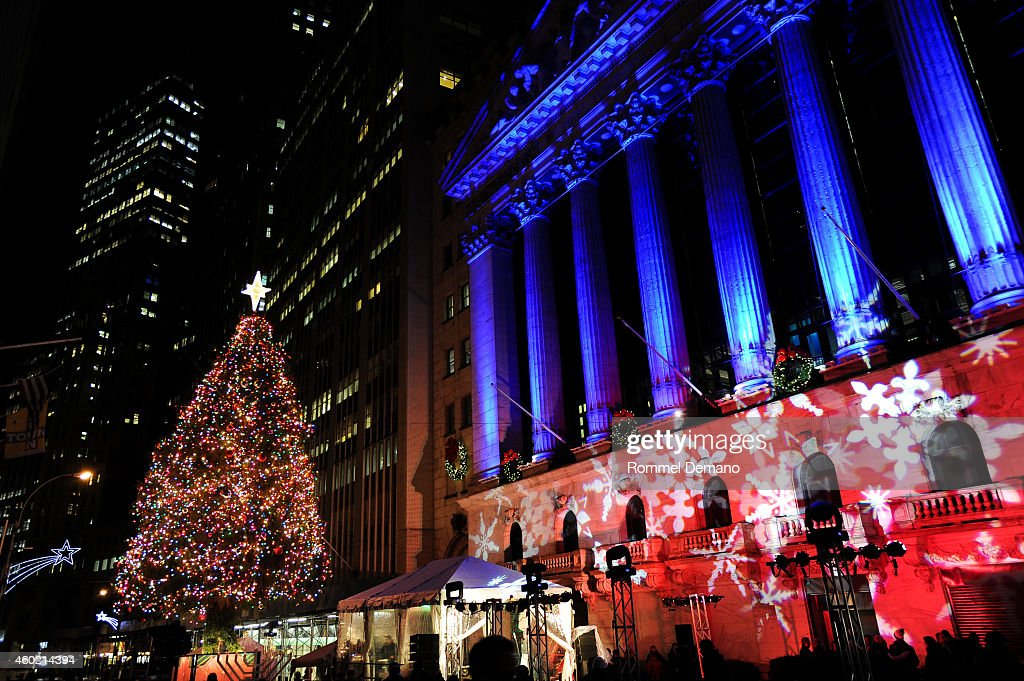 a general view of atmosphere at new york stock exchange 91st annual christmas tree lighting celebration - New York Christmas Tree Lighting 2014
