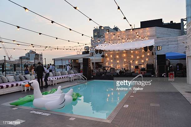A general view of atmosphere at Soho House New York's 10th birthday celebration with a live performance by Mumford and Sons on the roof top at Soho...