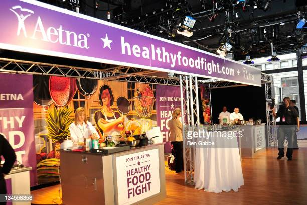 A general view of atmosphere at the Aetna Healthy Food Fight regional semifinal cookoff at ABC Studios on December 2 2011 in New York City