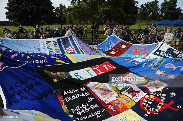 A general view of atmosphere at The AIDS Memorial Quilt returns to NYC as part of the 5th annual Kiehl's LifeRide for amfAR at Governors Island on...
