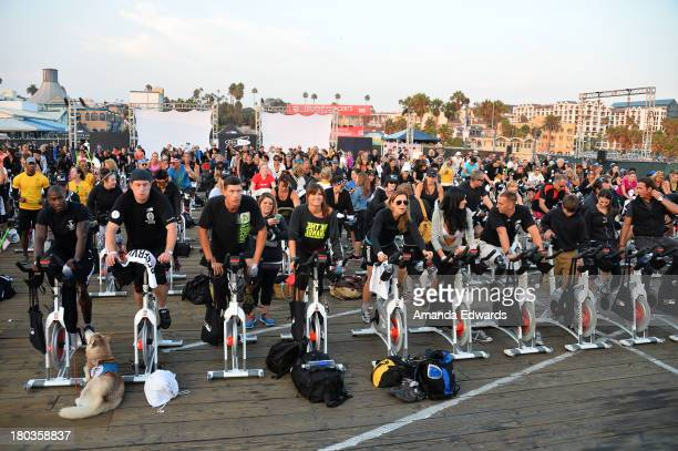 A general view of atmosphere at the Cycle For Heroes A Rock Inspired Ride On Santa Monica Pier at Santa Monica Pier on September 11 2013 in Santa...