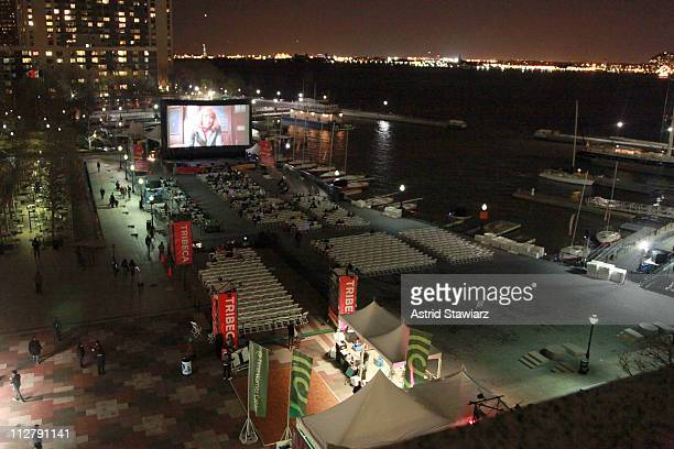 A general view of atmosphere at the DriveIn Presents 'Fame' At The 2011 Tribeca Film Festival at North Cove at World Financial Center Plaza on April...