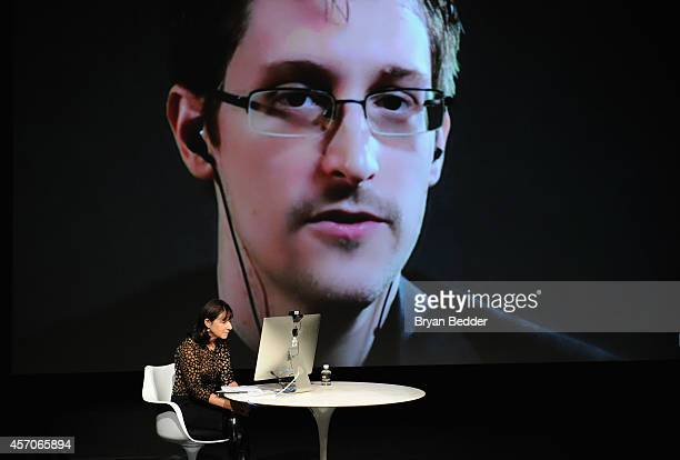 General view of atmosphere at the Edward Snowden Interviewed by Jane Mayer at the MasterCard stage at SVA Theatre during The New Yorker Festival 2014...