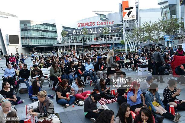 A general view of atmosphere at the Film Independent's prefestival outdoor screening of 'Clueless' at LA LIVE on May 6 2014 in Los Angeles California