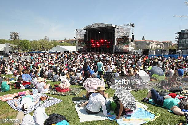 A general view of atmosphere at the Global Citizen 2015 Earth Day Courtesy of Partner Citi at National Mall on April 18 2015 in Washington DC