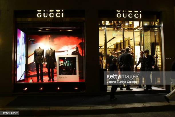 General view of atmosphere at the Gucci Flagship store opening during Milan Fashion Week Womenswear Spring/Summer 2012 on September 21, 2011 in...