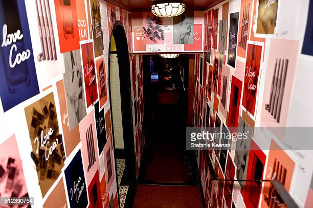 A general view of atmosphere at the I Love Coco Backstage Beauty Lounge at Chateau Marmont's Bar Marmont on February 25 2016 in Hollywood California