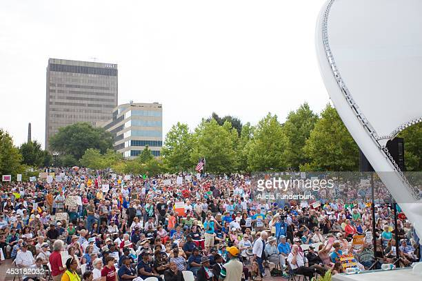 A general view of atmosphere at the Mountain Moral Monday 2014 at Pack Square Park on August 4 2014 in Asheville North Carolina