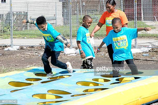 A general view of atmosphere at the Nickelodeon Road To Worldwide Day of Play With Dwyane Wade at Willie Mae Morris Empowerment Center on September...