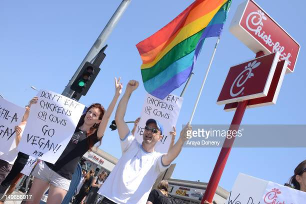 A general view of atmosphere at the PETA and the LGBT community's 'ChickfilA Is AntiGay' at ChickfilA on August 1 2012 in Hollywood California