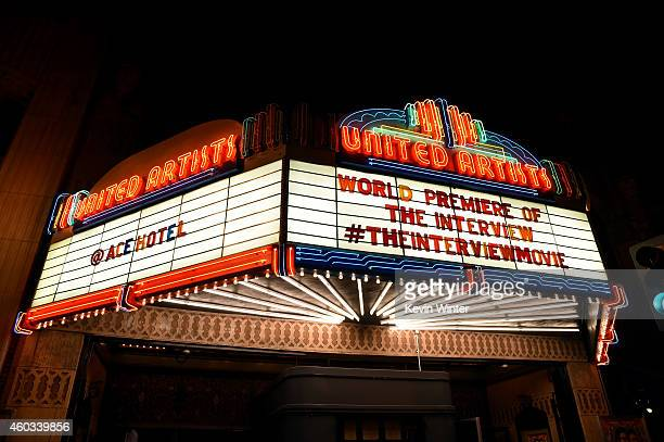 """General view of atmosphere at the Premiere of Columbia Pictures' """"The Interview"""" at The Theatre at Ace Hotel Downtown LA on December 11, 2014 in Los..."""
