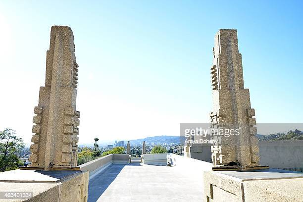 A general view of atmosphere at the ribboncutting ceremony for the reopening of The Frank Lloyd Wright Hollyhock House on February 13 2015 in Los...