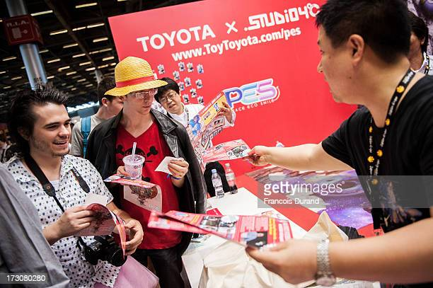 General view of atmosphere at the 'TOYOTA x STUDIO4AC meets ANA PES' booth during the Japan Expo at Paris-nord Villepinte Exhibition Center on July...