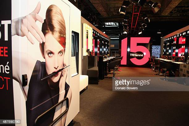 A general view of atmosphere at the TRESemme Salon during New York Fashion Week SS16 at Skylight at Moynihan Station on September 10 2015 in New York...