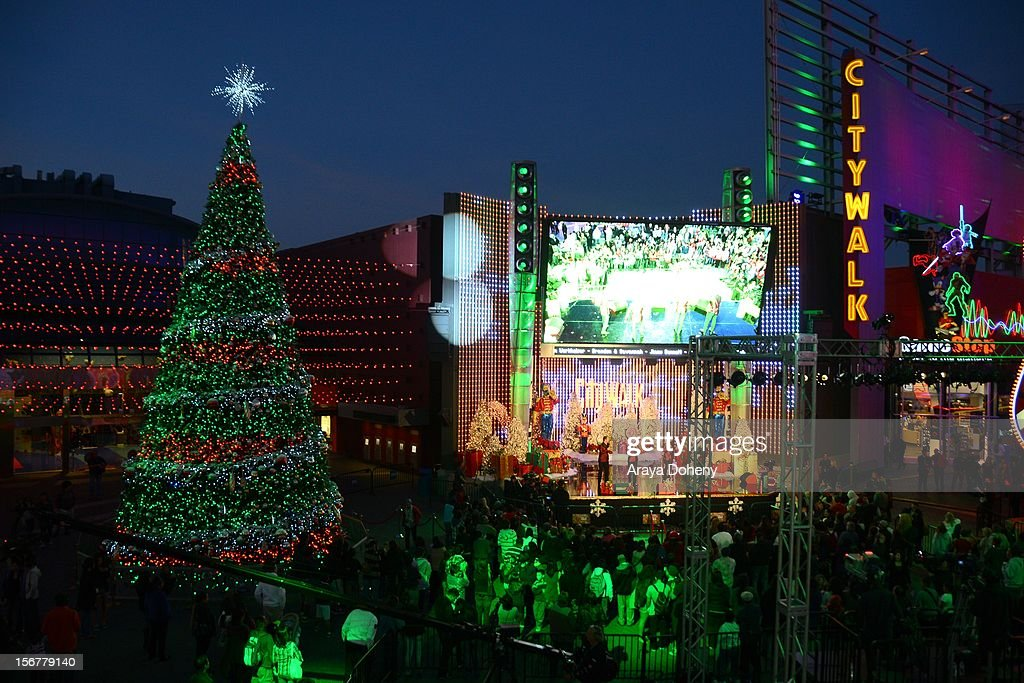 A general view of atmosphere at the Universal CityWalk Tree Lighting - Light Show Spectacular! at 5 Towers Outdoor Concert Arena on November 20, 2012 in Universal City, California.