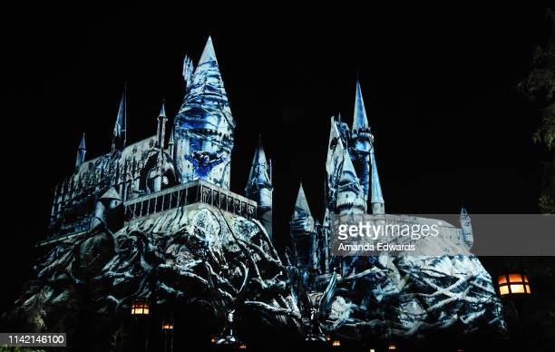 A general view of atmosphere at the Universal Studios Hollywood media preview for The Dark Arts at Hogwarts Castle light projection show at Universal...