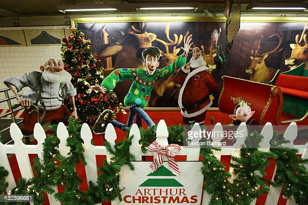 A general view of atmosphere at the unveiling of the Arthur Christmas MTA shuttle at the Grand Central Shuttle Station on November 12 2011 in New...
