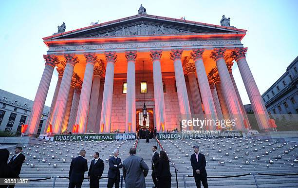 A general view of atmosphere at the Vanity Fair party before the 2010 Tribeca Film Festival at the New York State Supreme Court on April 20 2010 in...