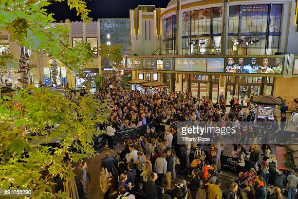 A general view of atmosphere at the Village Synagogue and Emmanuelle Chriqui Host Menorah Lighting Ceremony at The Grove on December 12 2017 in Los...