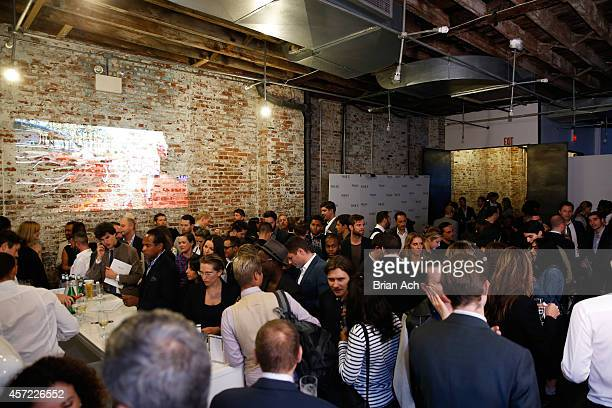 A general view of atmosphere at The Visionary World of Vogue Italia Exhibition Opening Night presented by Peroni Nastro Azzurro on October 14 2014 in...