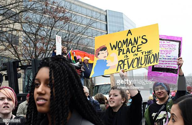 General view of atmosphere at the Women's March on Washington on January 21, 2017 in Washington, DC.