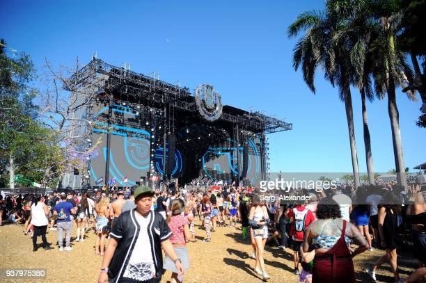 General view of atmospher at Ultra Music Festival at Bayfront Park on March 25 2018 in Miami Florida
