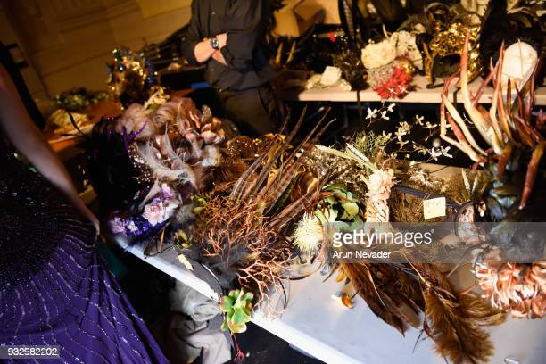 A general view of atmosphere backstage at Los Angeles Fashion Week Powered by Art Hearts Fashion LAFW FW/18 10th Season Anniversary Backstage and...