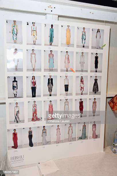 A general view of atmosphere backstage at the Bibhu Mohapatra fashion show during MercedesBenz Fashion Week Spring 2014 at The Studio at Lincoln...