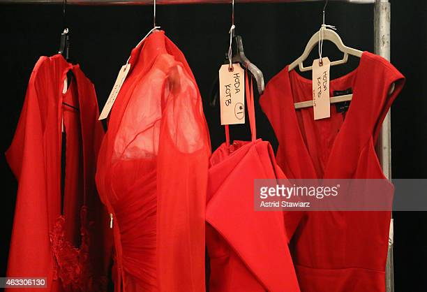 A general view of atmosphere backstage at the Go Red For Women Red Dress Collection 2015 presented by Macy's fashion show during MercedesBenz Fashion...
