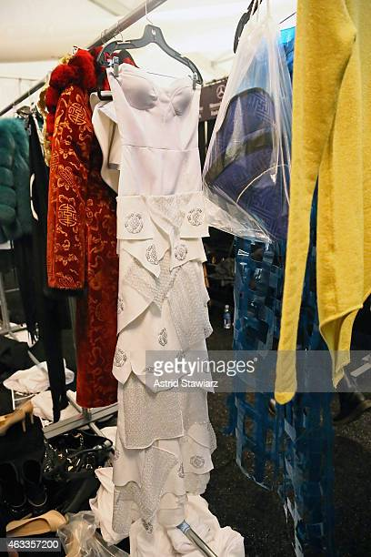 General view of atmosphere backstage at the Mongol fashion show during Mercedes-Benz Fashion Week Fall 2015 at The Theatre at Lincoln Center on...