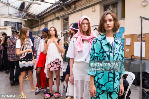 A general view of atmosphere backstage prior the Fashion Farm Foundation show as part of Paris Fashion Week Womenswear Spring/Summer 2018 on...