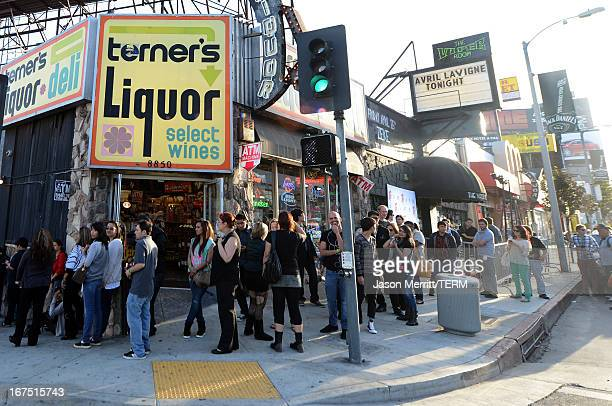 A general view of atmosphere before Avril Lavigne's secret performance at The Viper Room on April 25 2013 in West Hollywood California