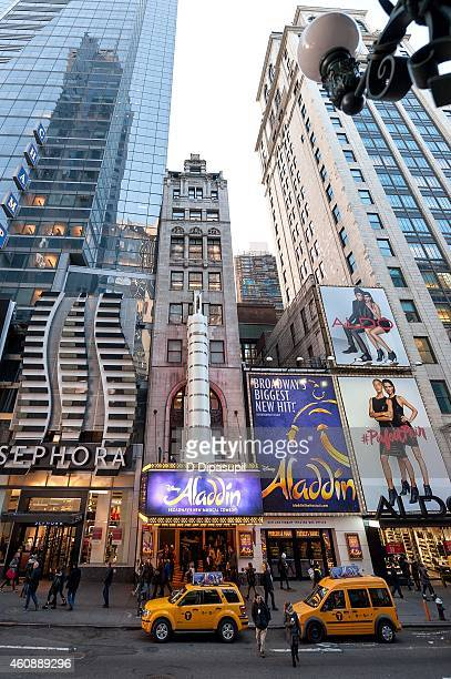A general view of atmosphere before Broadway's Aladdin hosts Times Square Prepares For 2015 Confetti Test at the New Amsterdam Theatre on December 29...