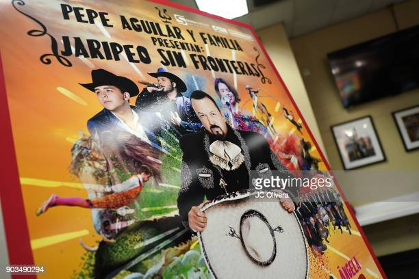 General view of atmosphere during a press conference for the upcoming Tour 'Pepe Aguilar y Familia presentan Jaripeo Sin Fronteras' with special...