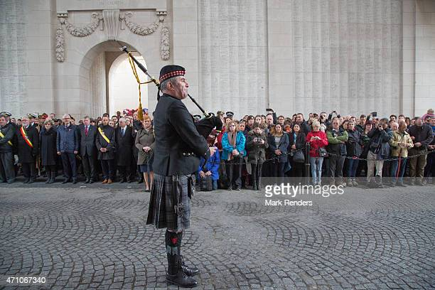 General view of atmosphere during an event to mark the centenary of the World War One Gallipoli campaign at Menin Gate on April 25, 2015 in Ypres,...