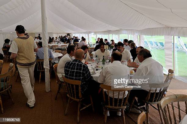 A general view of atmosphere during an exclusive cricket day in the idyllic surroundings of the Getty family estate at Wormsley Buckinghamshire on...