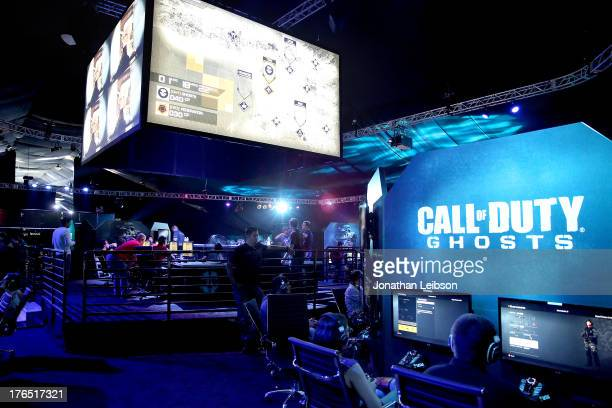A general view of atmosphere during 'Call Of Duty Ghosts' Multiplayer Global Reveal at LA Live on August 14 2013 in Los Angeles California