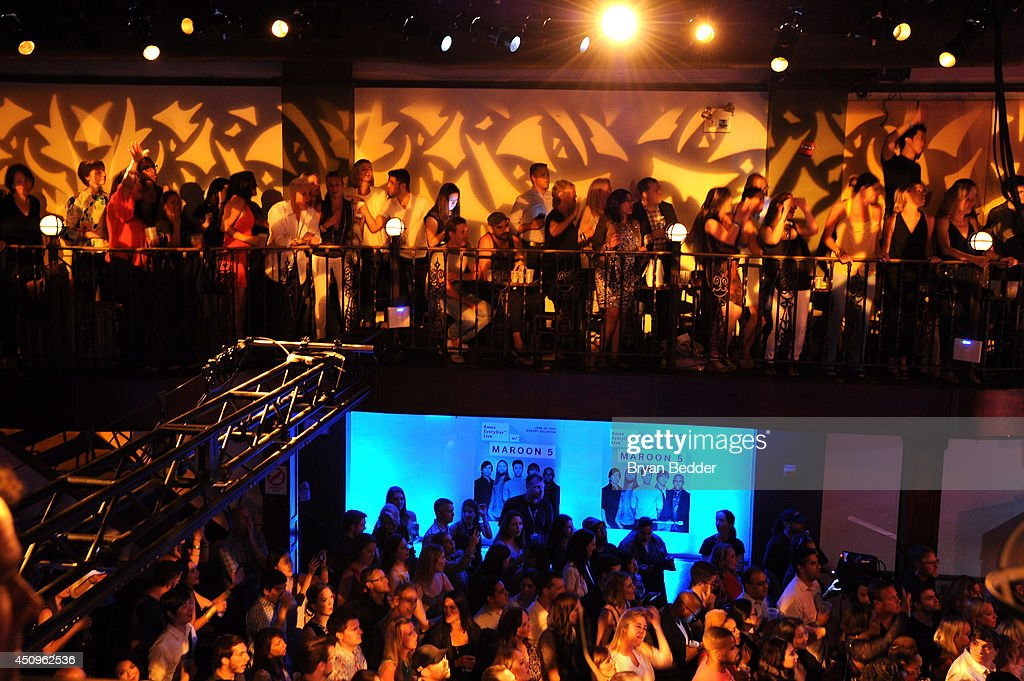 A general view of atmosphere during Maroon 5 performing at the #AmexEveryDayLive concert, live streamed from The Bowery Ballroom on June 20, 2014 in New York City.