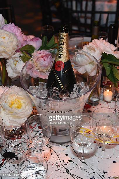 A general view of atmosphere during Moet Chandon Toasts to the amfAR Inspiration Gala at Spring Studios on June 16 2015 in New York City