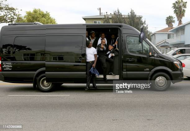 A general view of atmosphere during Nipsey Hussle's Celebration of Life and Funeral Procession on April 11 2019 in Los Angeles California