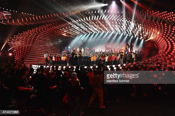 General view of atmosphere during rehearsals for the final of the Eurovision Song Contest 2015 on May 22, 2015 in Vienna, Austria. The final of the...