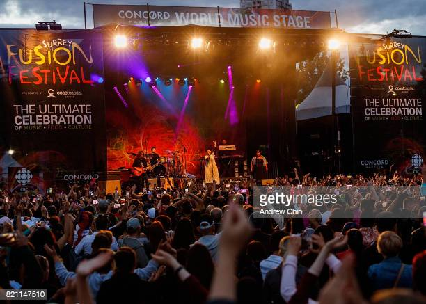 A general view of atmosphere during singersongwriter Nelly Furtado's performance on stage at Fusion Festival at Holland Park on July 22 2017 in...