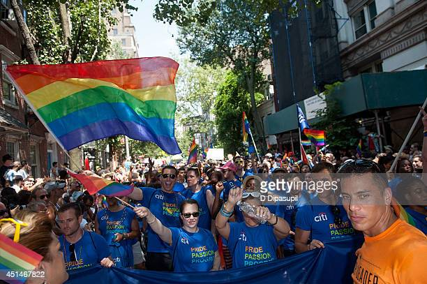 A general view of atmosphere during the 2014 New York City Pride March on June 29 2014 in New York City