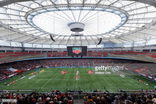 A general view of atmosphere during the 2018 Canada Sevens Rugby Tournament at BC Place on March 11 2018 in Vancouver Canada