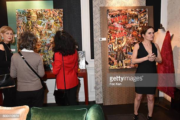 A general view of atmosphere during the 'Accords Croises' Anne Mondy Exhibition Preview at Galerie Dedar on December 7 2015 in Paris France